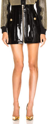 Balmain Zip Front Patent Leather Skirt in Black | FWRD