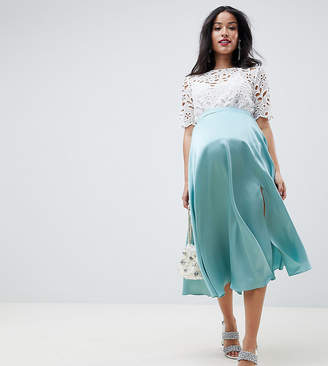 6847e272206 Asos DESIGN Maternity satin midi skirt with side split