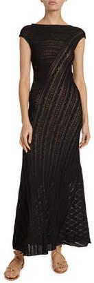 Alaia Lace-Striped Cap-Sleeve Midi Dress