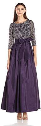 Jessica Howard Women's 3/4 Sleeve Inset Waist Ballgown with Pleated Skirt and Tie Sash $158 thestylecure.com