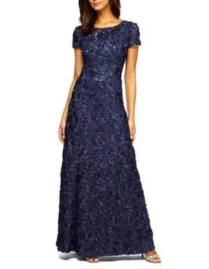 Alex Evenings Rosette Shimmer Gown