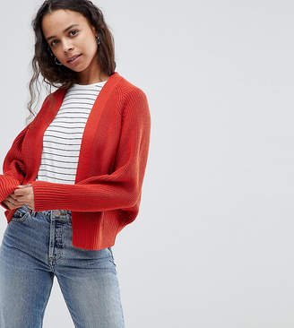 Asos DESIGN Petite eco chunky cardigan with volume sleeve