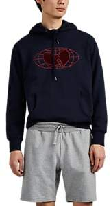 Wu Wear Men's Embroidered Logo Cotton Hoodie - Navy