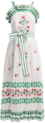9a85a5d6ab Gül Hürgel Floral Embroidered Linen Midi Dress - Womens - White Print