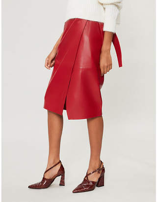 BA&SH Waist-tie leather skirt