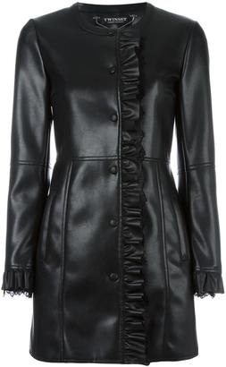 Twin-Set ruffle detail coat $222.33 thestylecure.com