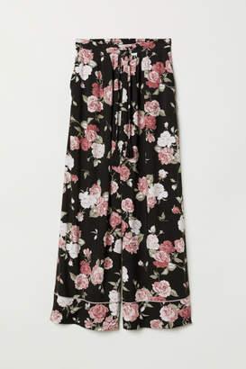 H&M Wide-leg Viscose Pants - Black