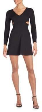 Halston Cutout Ponte Fit-&-Flare Dress