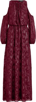 Ralph Lauren Jacquard Cold-Shoulder Gown