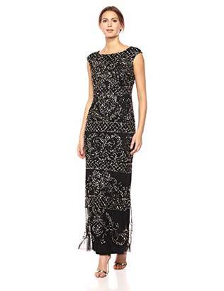 Adrianna Papell Women's Extended Shoulder Modified Mermaid Dress with Beaded Pattern, Black/Gold, 8