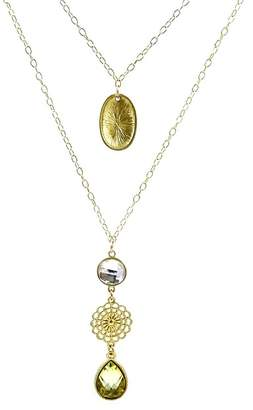 Savvy Cie 18K Yellow Gold Plated Sterling Silver Bezel Set Crystal Pendant Layered Necklace