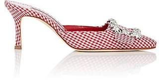 Manolo Blahnik Women's Maysaleba Gingham Mules - Red Fabric