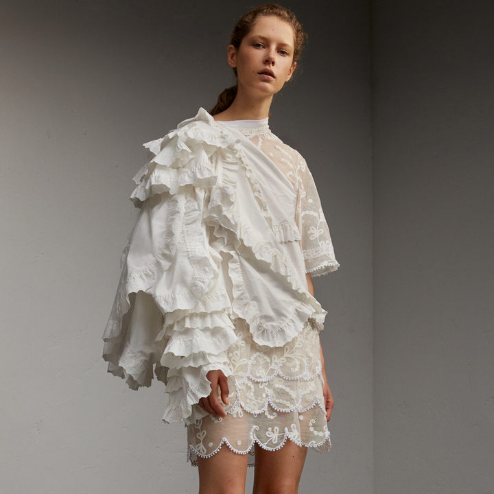 Burberry Broderie Anglaise Ruffle Cotton and Lace Dress
