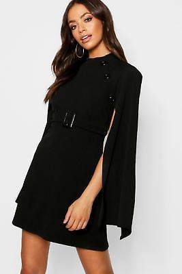 boohoo NEW Womens Funnel Neck Button Belted Cape Sleeve Dress in Polyester