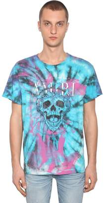 Amiri Tie Dye Printed Skull Cotton Jersey