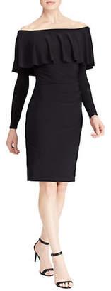 Lauren Ralph Lauren Ruffled Stretch Off-The-Shoulder Jersey Dress