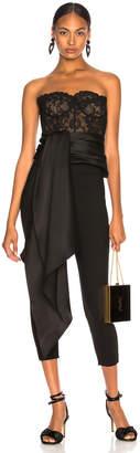 Oscar de la Renta Asymmetric Hem Strapless Lace Bustier in Black & Black | FWRD