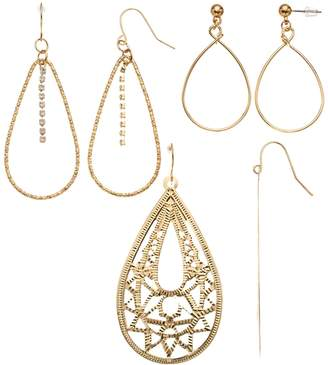 Mudd Gold Filigree & Hoop Earring Set