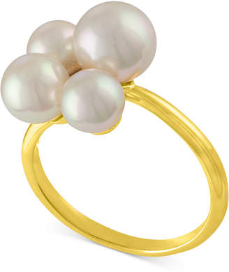 Majorica Gold-Tone Stainless Steel Imitation Pearl Cluster Ring
