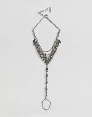 Asos Design Engraved Diamond Pendant And Chain Foot Harness