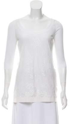 Blumarine Short-Sleeve Silk Lace Top