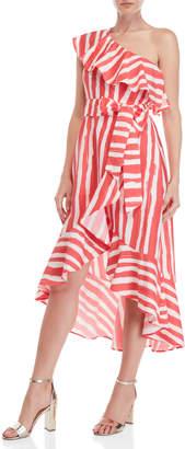 Flying Tomato Striped One-Shoulder Wrap Dress