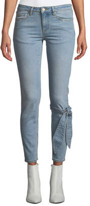 Victoria / Tomas Mid-Rise Skinny Ankle Jeans with Tie Detail