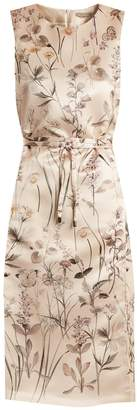 Bottega Veneta Floral-print pintucked-detail satin dress