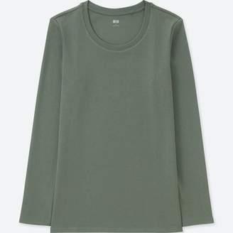 Uniqlo WOMEN Compact Cotton Crew Neck Long Sleeve T-Shirt