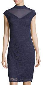 Short-Sleeve Lace V-Neck Illusion Dress