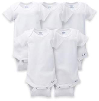 Gerber ONESIES® Brand 5-Pack Short-Sleeve Bodysuits in White $9.99 thestylecure.com