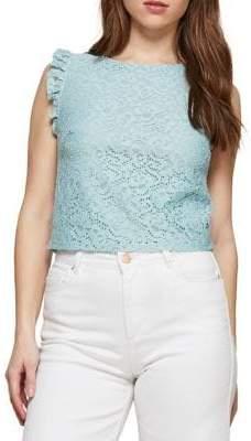 Miss Selfridge Lace-Trimmed Sleeveless Top