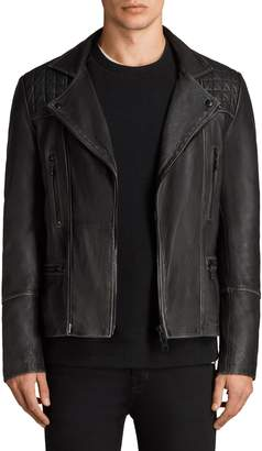 AllSaints Cargo Biker Slim Fit Leather Jacket