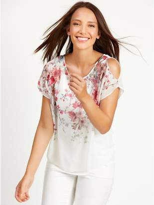 M&Co Floral print cold shoulder top