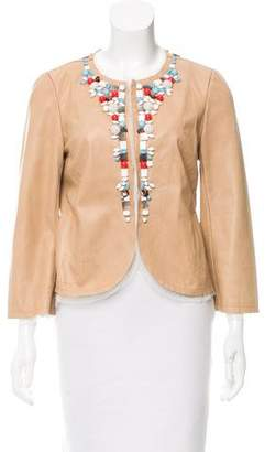 Rozae Nichols Embellished Leather Jacket