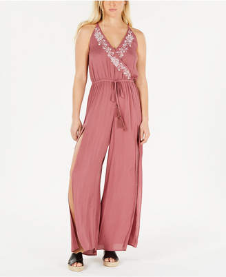 American Rag Juniors' Embroidered Split-Leg Jumpsuit