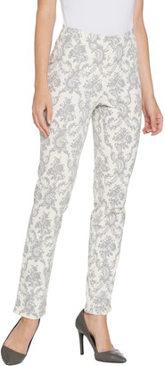 Isaac Mizrahi Live! Regular 24/7 Stretch Damask Printed Slim Leg Pants