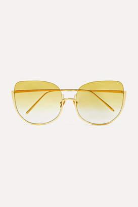 Linda Farrow Oversized Cat-eye Gold-tone Sunglasses - Yellow