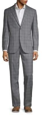 Jack Victor Classic Fit Plaid Wool Suit