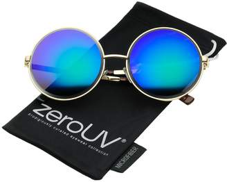 Zerouv Oversize Metal Frame Etched Edge Colored Mirror Lens Round Sunglasses 60mm