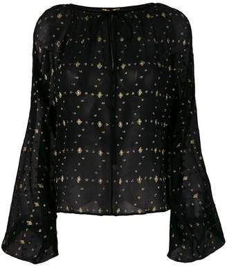 Saint Laurent embroidered sheer blouse