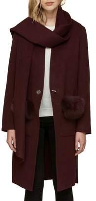 Soia & Kyo Wool Blend Genuine Fox Fur Trim Coat