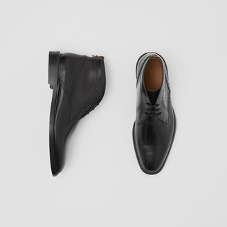 Burberry Brogue Detail Leather Boots