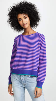 Jumper1234 Tipped Narrow Stripe Boyfriend Cashmere Sweater