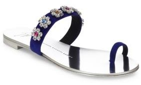 Giuseppe Zanotti Nuvo Rock Swarovski Crystal Suede Toe Ring Slides $650 thestylecure.com