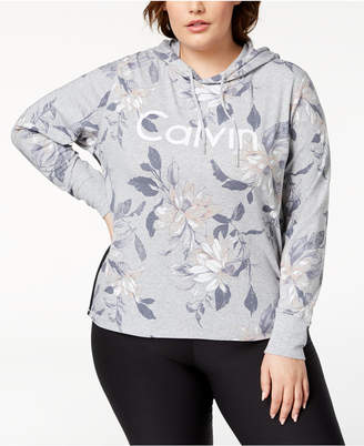 Calvin Klein Plus Size Floral-Print Cropped Hoodie