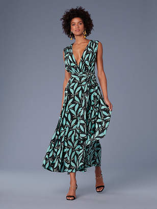 Diane von Furstenberg Sleeveless Draped V-Neck Maxi Dress