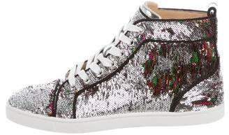 Christian Louboutin Sequin High-Top Sneakers w/ Tags
