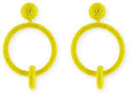 Oscar de la Renta Beaded Double-Hoop Clip-On Earrings