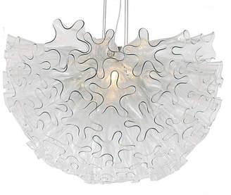 Viz Glass Dahlia Pendant - Clear/Nickel
